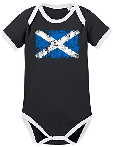 TShirt-People TSP Schottland Vintage Flagge Fahne Kontrast Baby Body 68 Schwarz