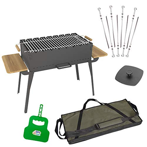 Houtskoolbarbecue, inklapbaar van staal (2 mm) incl. grillrooster, 8 spiesen, grillpers, grillvakken en tas - grill met zijplateaus van natuurlijk hout - mangal voor 8 spiesen, voor sjasliek, BBQ (klapgrill)