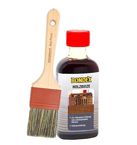 Bondex Holzbeize inkl. Beizpinsel, Wasserbeize in 20 Farbtönen zur Auswahl (250 ml, teak)
