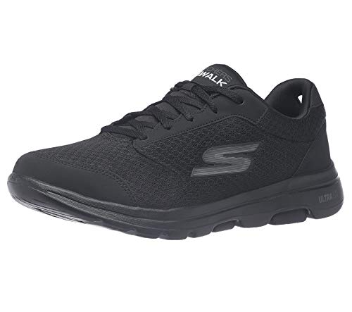 Skechers mens Gowalk 5 Qualify - Athletic Mesh Lace Up Performance Walking Shoe Sneaker, Black, 7 US