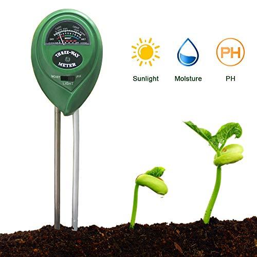 Innen- und Au/ßenbereich hohe Genauigkeit n/ützlich f/ür Garten Bodenmessger/ät Licht und pH-Wert Rasen Bodenfeuchtigkeitsmessger/ät f/ür Feuchtigkeit 3-in-1