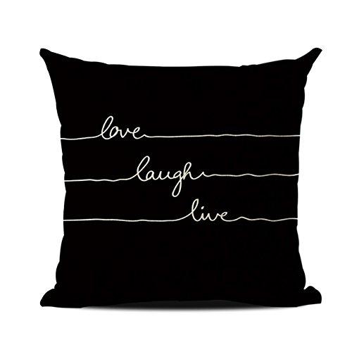 JOTOM Funda de cojín,Palabras de Lino del algodón Oficina en casa Funda de Almohada Decorativa Funda de Almohada sofá Cuadrado Decorativo sofá 45 x 45 cm (Love Laugh Live Negro)