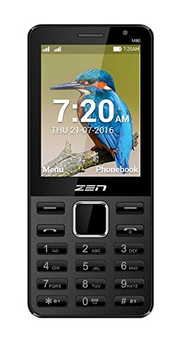 ZEN M80 Dual SIM with Selfie Camera Feature Phone (Black-Red) Amazon deals
