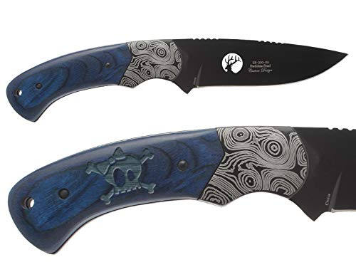 "NDZ Performance Elk Ridge ER-200-09-BL 4"" Fixed Blade Hunting Knife Damascus Bolster Blue Pakkawood Handle with Leather Sheath Laser Engraved Skull Cross Bones Bow 1"