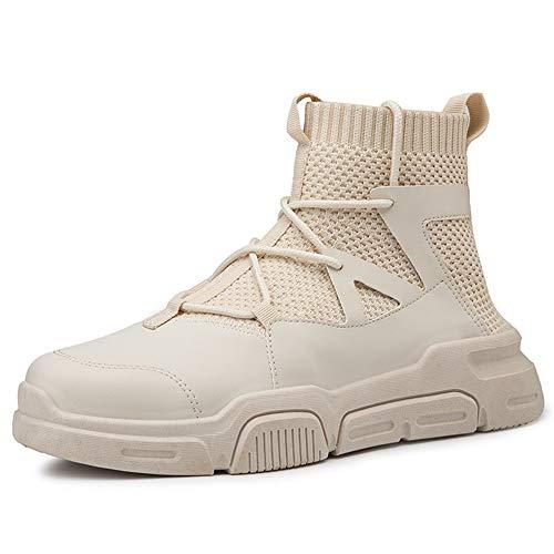 WENQU Hoge Top Sneaker voor Mannen Buiten Enkellaarzen Lace up Sokken Kraag Gebreide Troll Teen Suede Elastische Naaien Thread Wear-Resistant Praktisch