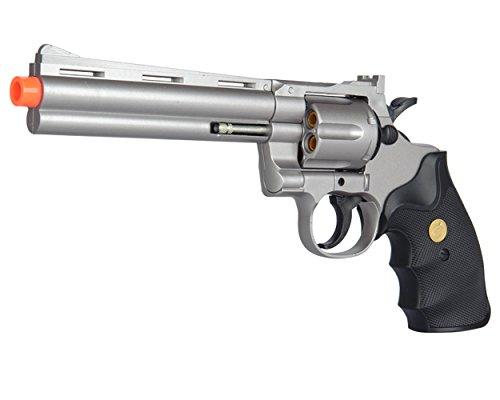 UKARMS Spring Airsoft Gun - 6 Shot 357 Magnum Revolver w/Shells + 6mm BBS (Silver)