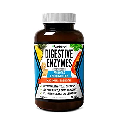 FarmHaven Digestive Enzymes with 12 Probiotics & 6 Soothing Herbs   Bromelain, Protease, Papaya & More Support Healthy Digestion   Helps Bloating, Gas, Constipation   Vegetarian, 60 Capsules