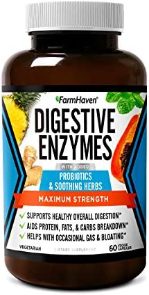 FarmHaven Digestive Enzymes with 18 Probiotics Herbs Papaya Bromelain Protease More for Lactose product image