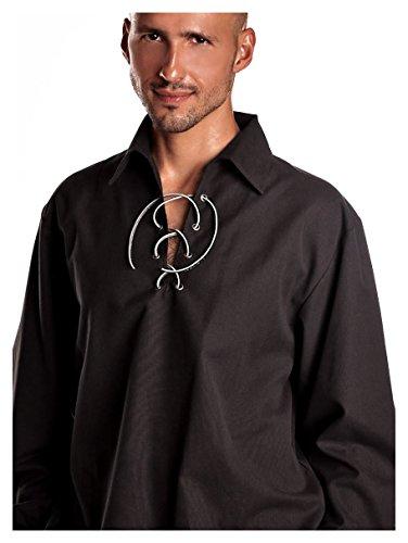 Kilt Society Herren schwarzer schottischer Jacobite Ghillie Kilt Hemd (Large)