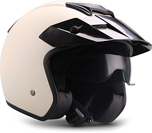 "Soxon® S77 ""Creme"" · Jet-Helm · Motorrad-Helm Roller-Helm Scooter-Helm Bobber Mofa-Helm Chopper Retro Cruiser Vintage Pilot Biker Helmet · ECE Visier Schnellverschluss SlimShell Tasche XL (61-62cm)"