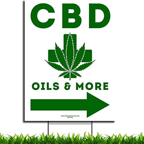 VIBE INK Large Medical CBD Oil and More Directional Store Sign 18'x24' - Double Sided Print, Waterproof Plastic, Metal H-Stake Included - Made in America!