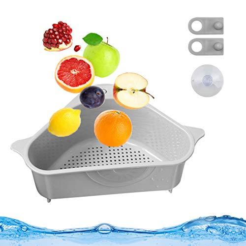 Bluelves Waschbecken Filterablage Dreieck Lagerregal, Seiher Sieb Abtropfsieb Set, Spülbecken Sieb über Spüle, Gemüse/Obst Küche Sieb Teesieb mit Ausziehbaren Griffen (Grau)