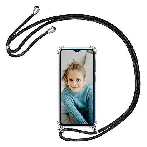 AROYI Funda con Cuerda Compatible con Xiaomi Redmi Note 8 Pro, Carcasa Transparente TPU Silicona Case con Colgante Ajustable Cordón Compatible con Xiaomi Redmi Note 8 Pro, Negro