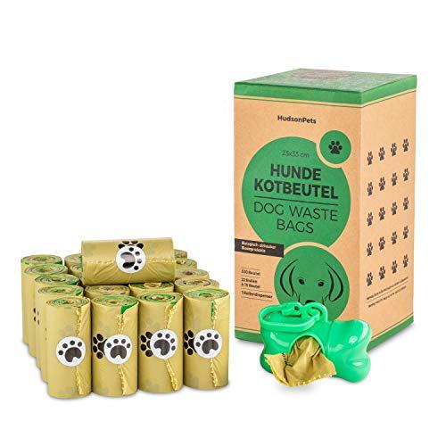 HudsonPets Hundekotbeutel 330 Stück, biologisch abbaubar und umweltfreundlich aus Maisstärke inkl Beutelspender mit Clip, Große Beutel: 33 x 23 cm, auslaufsicher und reißfest