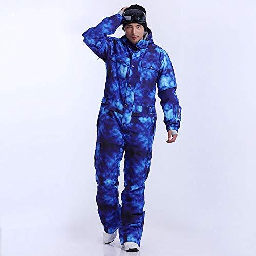 JJZZ Skibekleidung für Herren Blaue Magie WasserdichtSnowboard EinteilerSkisprungMänner Snowboard30 Grad Schnee Skianzug Winterkleidung Overall, XXL