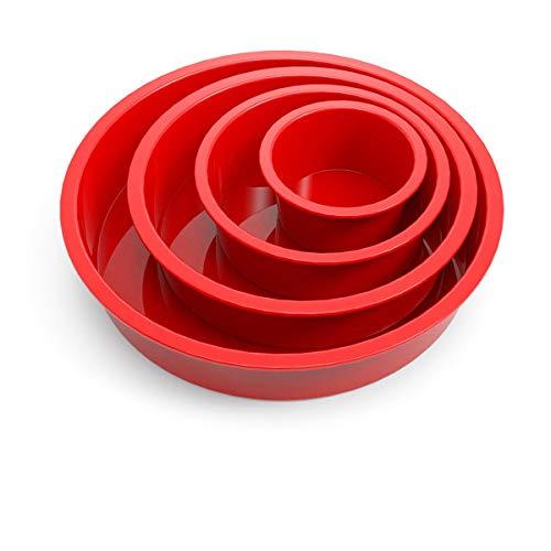 SILIVO Silikon Backform Rund, 4 STK. Kuchenform Silikon, Antihaft- & schnell abgelöstes Backformen Set für Schichtkuchen, Käsekuchen, Regenbogenkuchen und Chiffonkuchen(9+14+19+24 cm)