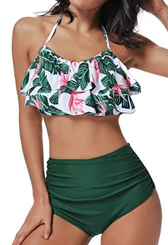 FITTOO Bikini Mujer Push-up Acolchado Bra Trajes de baño una Pieza V-Cuello Vendaje Color solido1400…