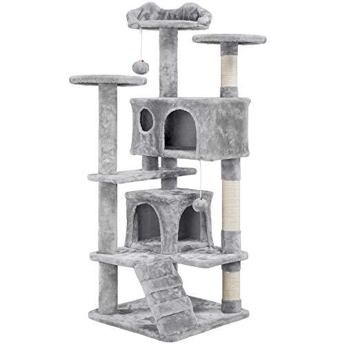 Yaheetech Kratzbaum 138 cm Kletterbaum Katzenkratzbaum mit 3 Aussichtsplattformen und 2 Plüschhöhlen Stabil Katzenbaum für Kleine und mittelgroße Katzen