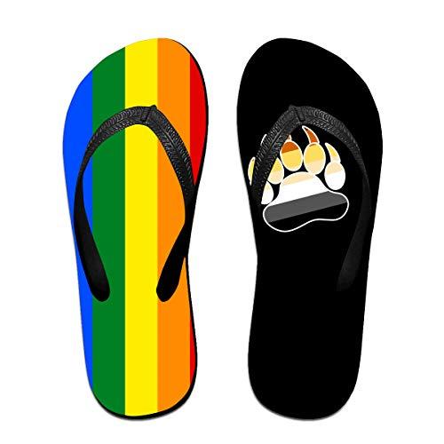 Iop 90p Gay LGBT Bär Flagge Flip Flops Hausschuhe Strand Sandalen Pool Schuhe, Schwarz - Schwarz - Größe: Large