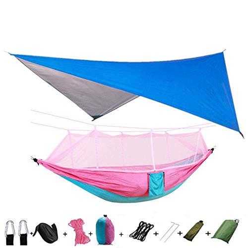 TRYING Hammock Lightweight Portable Camping Hammock and Tent Awning Rain Fly Tarp Waterproof Mosquito Net Hammock Canopy 210T Nylon Hammocks RMCX (Color : Blueandpink)