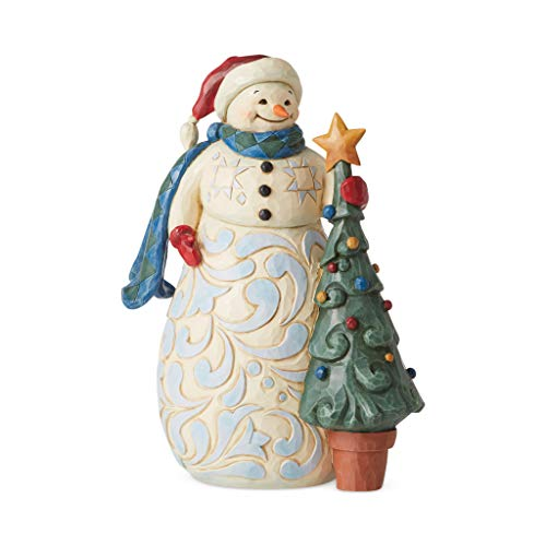 Enesco Jim Shore Heartwood Creek Snowman with Tree Christmas is Cherished Figurine, 9.8' H, Multicolor