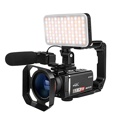 Livestream Video Camera 4K ORDRO AX60 UHD Camcorder with 12x Optical Zoom 3.5' IPS Screen HD 1080P 60FPS 4K HD Video Recording Camcorder with Mic, LED Light, Wide Angle Lens, Handheld Holder