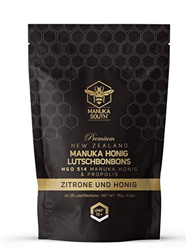 Manuka South Manuka Honig Lutschbonbons mit Propolis und Zitrone, MGO 514+ wohltuend für Mund und Hals, 25 Bonbons (115g)