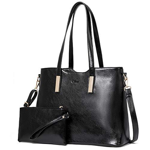 CLUCI Handtasche Damen Gross Tasche Shopper für Damen PU Leder Tote Groß Mode Frauen Schultertasche Businesstasche Reisetasche mit Innentasche Taschen Set Schwarz