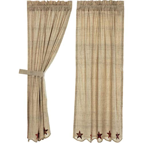 VHC Brands Abilene Star Short Panel Set of 2 63x36 Country Curtains, Tan