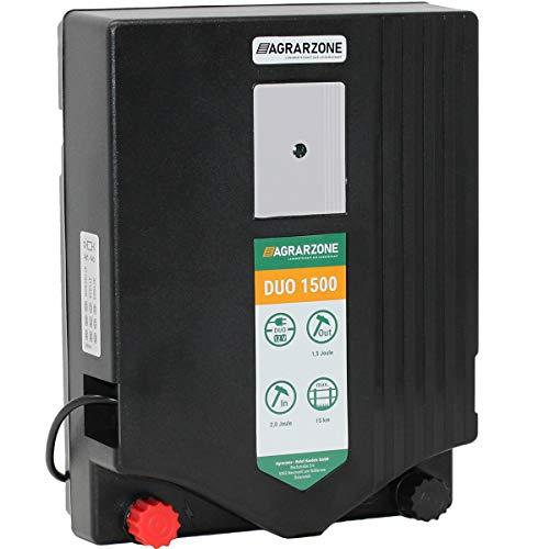 Agrarzone Duo 1500 Weidezaungerät 12V, 230V, 2 Joule | Robustes Elektrozaungerät für Weidezaun | Strom oder Batteriebetrieb | Optimale Hütesicherheit | Weidegerät für Pferde, Rinder & Kleintiere