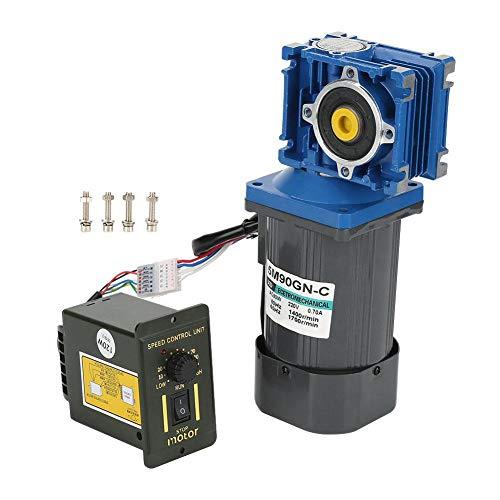 Motor CA 220V, 90W 1400RPM Motor de reducción de velocidad 8 polos CW/CCW Motor 5M90GN-C RV30 tornillo sin fin con regulador de velocidad(25K)