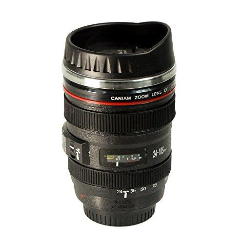 Dlife Kamera-Kaffeetasse Camera Lens Mug Lens Coffee Cup - Kaffeebecher mit Linsen Deckel - Schwarz