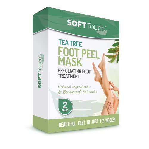 Soft Touch Foot Peel Mask - Pack of 2 Feet Peeling Masks for Dry, Cracked Heels & Calluses - Exfoliating Foot Mask Peel for Baby Soft Skin, Tea Tree