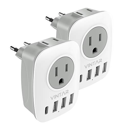 [2-Pack] European Travel Plug Adapter, VINTAR International Power Adaptor with 1 USB C Compatible with iPhone 11/11 Pro / 11 Pro Max, 2 American Outlets and 3 USB Ports, 6 in 1 European Plug Adapter
