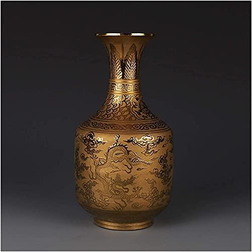 ZXYDD Florero Ming Dynasty Xuande Year Mark dorado dorado Dragon Jarrón antiguo coleccionables adorno de porcelana antigua decoración del hogar
