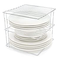 SMART DESIGN: Boost your kitchen cupboard storage quickly and easily with this three tier chrome corner plate rack. It maximises the vertical space in any cupboard, worktop or under sink area SPACE SAVER: This storage shelf organiser is designed to f...