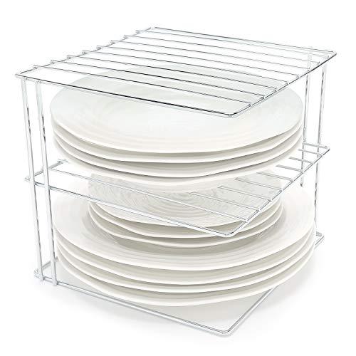 simplywire - Estantes para platos - Organizador de armarios de cocina - Diseño cuadrado de 3 niveles - Cromado