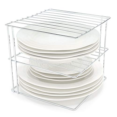 simplywire - Plate Rack - Kitchen Cupboard Organiser - 3 Tier Square -...