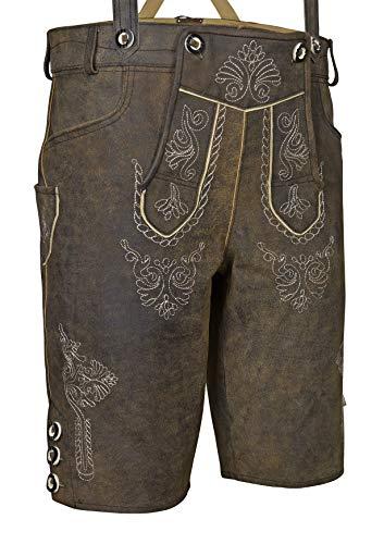 Bongossi-Trade Herren Trachten Lederhose Bundhose kurz mit Trägern aus Rindveloursleder in Dunkelbraun Vintage Style Gr. 50
