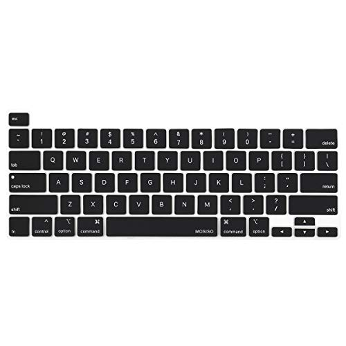 MOSISO Keyboard Cover Compatible with 2020 MacBook Pro 13 inch A2338 M1 A2289 A2251 & 2019 MacBook Pro 16 inch A2141 with Touch ID & Retina Display, Protective Silicone Skin, Black