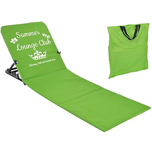 JEMIDI Strandmatte Schwimmbadmatte mit Rückenlehne nur 1,7 kg - Super leicht!!! Schwimmbad Decke Matte Laken Liege Strandliege Grün Summer Lounge