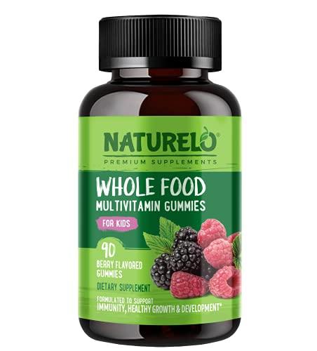 NATURELO Whole Food Vitamin Gummies for Kids - Chewable Gummy Multivitamin for Children - Non-GMO - with Vitamins & Minerals - 90 Vegan Gummies