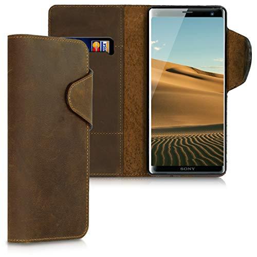 kalibri Hülle kompatibel mit Sony Xperia XZ3 - Leder Handyhülle Handy Hülle Cover - Schutzhülle in Braun