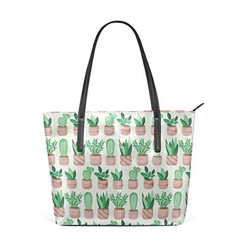 Topfpflanzen grün Kaktus Muster Fashion Leder Handtasche Schultertasche Handtasche für Frauen Mädchen