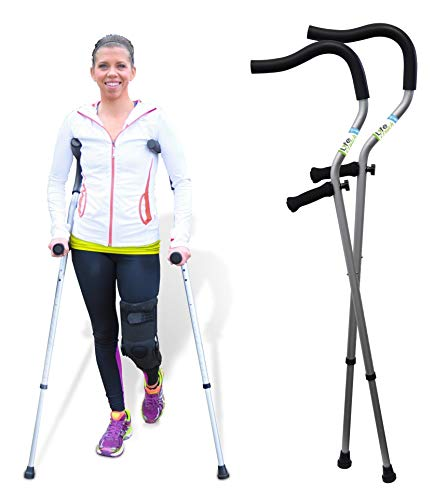The Life Crutch - Universal Crutch| Ergonomic Handles | Articulating Tips | Supports up to 300 lbs | for Adults and Children with Heights 4'6' - 6'7'