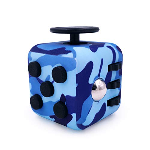 GreenBee Cubo antiestres, Fidget Cubes, Fidget Toys, Anti-ansiedad Anti-Stress, Juguetes Antiestres con 6 módulos relajantes, para niños,Adolescentes y Adultos. (Azul Camuflaje)