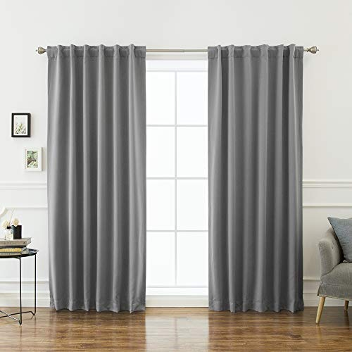 Best Home Fashion Premium Blackout Curtain Panels - Solid Thermal Insulated Window Treatment Blackout Drapes for Bedroom - Back Tab & Rod Pocket – Grey - 52' W x 102' L - (Set of 2 Panels)