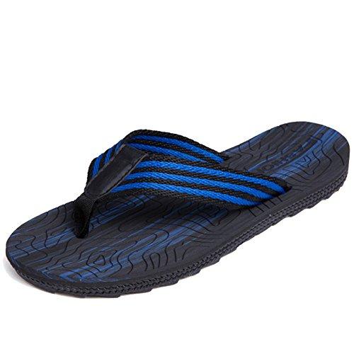 MERRYHE Summer Mens Flip Flops Classique Confortable Plage Sandales Bord De La Mer Pantoufles Adultes Top Mix Flip Flops pour Voyager,Blue-41