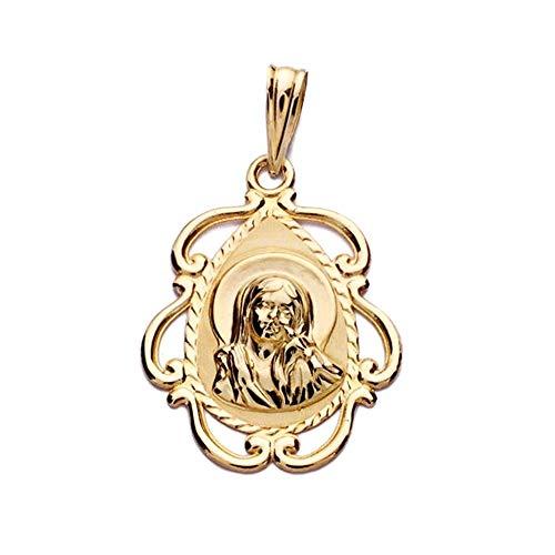 Medalla Oro 18K Virgen Niña 22mm. Forma Lágrima Detalle Borde Calado - Personalizable - Grabación Incluida En El Precio