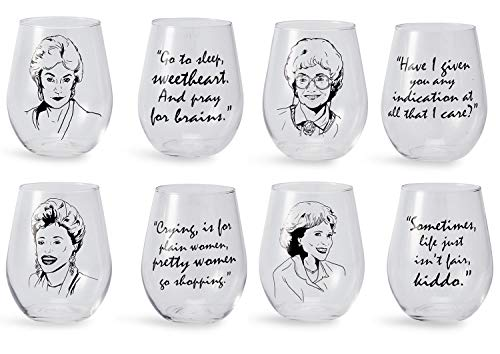 SHOWCASE YOUR AFFINITY FOR THE GOLDEN GIRLS: We all have an adoration for the Golden Girls. Now it's easier than ever to flaunt your passions for this comical cast of ladies. Featured in this wine glass set, fans will find their favorite girls with t...